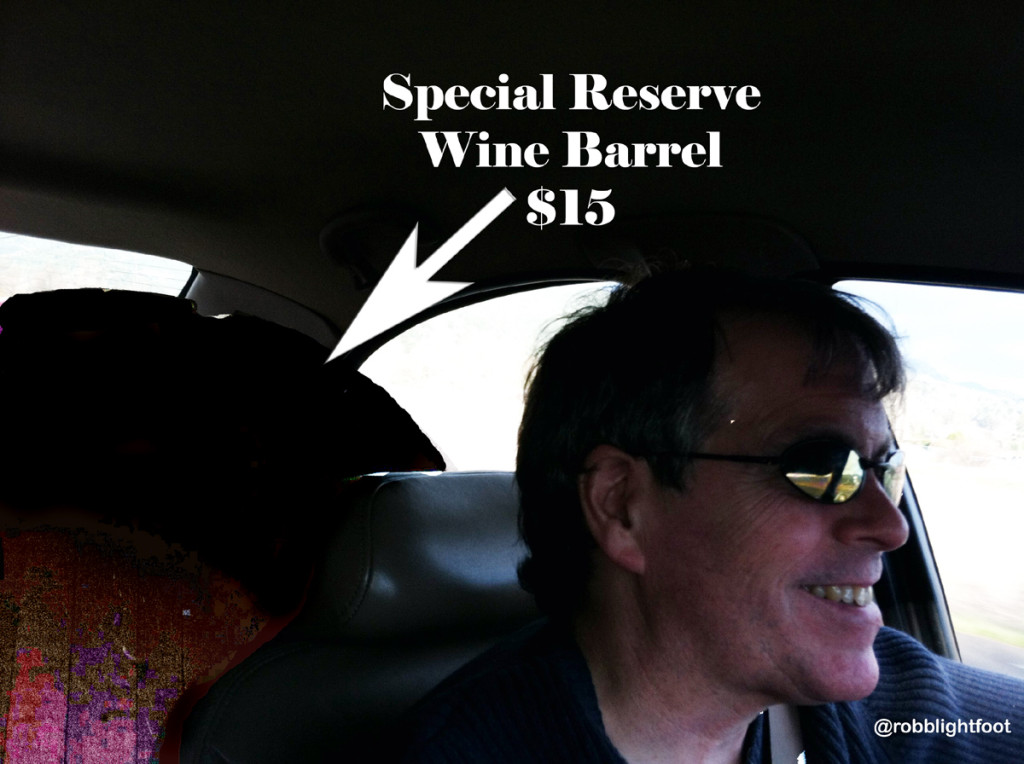 Photo of Robb with barrel in back seat